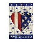 F124 WELCOME PATRIOTIC HEART SUMMER JULY 4TH OUTDOOR HOUSE FLAG 29X43 BANNER