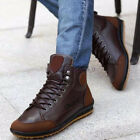 New Winter Mens Casual Leather High Top Sneaker Lace up Work Shoes Ankle Boots