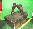 vtg antique tole painted wooden box art crafts era / sewing / what not box
