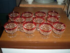 Set of 11 Indiana Glass Ruby Flashed Rim Whitehall Pedestal Punch Cups