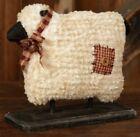 NEW!!! Primitive Country Farmhouse Chenille Wool Fabric Sheep On Wood Base