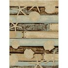 Sea Life Area Rug Runner Nautical Beach Coastal Blue Beige Shell Seashell Sand