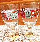 Set of 2 Libbey Water/Wine Goblets/Glasses-Christmas Village-Holiday Village
