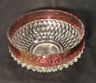 RUBY Flash DIAMOND POINT Bowl 9 inch Vintage INDIANA GLASS 1960s kings crown