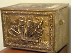 Fireplace Storage Box Vintage Brass Chest Repousse Trunk Pirate Treasure Box