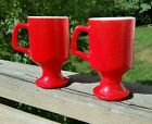 2 MCM Retro Milk Glass Red Coffee Cups Footed -VERY NICE VINTAGE!!