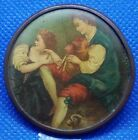 Antique Large Lithograph Picture Button with Victorian Lady and Man in Color