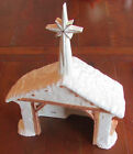Vintage 1981 Large Christmas Nativity Stable Ceramic Silent Night Music Box