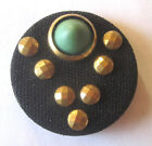 ANTIQUE ART DECO BUTTON BLACK FABRIC COVERED WITH GOLD ACCENTS ~ 1.25