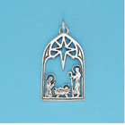 NATIVITY SCENE CHARM Jewelry Cutout 925 Sterling Silver or 22 K Gold Vermeil