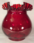 New 4 Fitter Ruby Swirl Optic Glass Gas Lamp Shade With Crimped Top GS126R