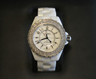 AUTHENTIC Chanel White Ceramic Diamond Bezel Watch J12