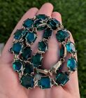 Vintage Art Deco Green Glass Open Bezel Czech Necklace 165