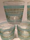 5 Vintage Libbey Libby Glasses Tumblers Barware  Turquoise Green Filigree