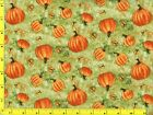 Great Pumpkin Harvest w Butterflies on Green Quilting Fabric by Yard 399