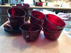 10 VTG 1930's ROYAL RUBY RED Anchor Hocking Depression Glass coffee cups/Saucers