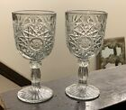 Star Burst Design Ribbed Stem Heavy Cut Glass 12 oz  Wine Or Water Goblets