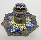 ANTIQUE 1890-1910 ORIENTAL BRASS TOBACCO SNUFF TRAY ENAMEL HAND PAINTED 5 1/4