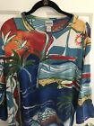 chicos size 3 tops Tunic Blue Yellow Print