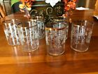 Crystal Gold Rimmed Juice Glasses with Grapevine Frosted Pattern Set of 6