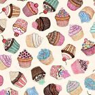 Home Sweet Home Cupcake Fabric Desserts Chocolate Chip Sprinkles Cherry Cup Cake