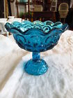 Moon and Stars Large Blue Glass Candy Dish  Compote