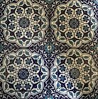 Blue  White 16x16 Turkish Ottoman Iznik Floral Pattern Ceramic Tile Set