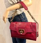 Cole Haan Chain & Leather Strap Shoulder Bag to Clutch Pebbled Wine Leather NWOT