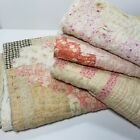 Vintage Feedsack Quilt Lot of 4 Pieces Cutter Hand Stitched Tattered  St2