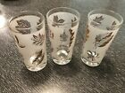 Three Continental Can Company Starlyte Frosted Gold Leaf Drinking Glasses
