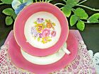 FOLEY PINK tea cup and saucer with roses floral bouquet teacup pattern