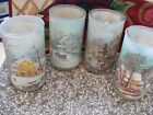 4 Vintage Currier and Ives Heavy Sugar Frosted Candle Holders Glasses Rare