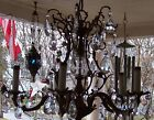 Vintage chandelier brass with 50 crystal pieces 5 arms