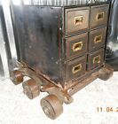 19th Cent. Six (6) Drawer Metal Cabinet set on Six (6) Wheeled Factory Cart