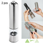 2 Stainless Steel Fast Salt Pepper Mill Electric Grinder Shaker Battery