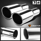 25 Inlet 3875 Outlet Dual Chrome S S Exhaust Muffler Angle Cut Round Tip