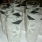 5 Vintage 60's Anchor Hocking Icy Frosted Atomic Snowflake Tom Collins Glasses