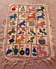 Adorable Alphabet with Animals Embroidered Child's Wall Hanging/Rug--MUST SEE!