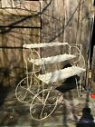 Vintage Metal and Wire Flower Cart Plant Stand Mid Century Floral Display 24in x