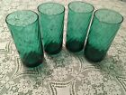 Four Anchor Hocking Forest Emerald Green Drinking Glasses with Swirl Pattern