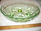 Vintage Indiana Glass Co. Lime GREEN Carnival Glass Fruit Bowl 12 inch