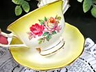 ROYAL ALBERT tea cup and saucer 3 roses pattern yellow teacup footed set