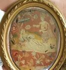 Antique Petit Point Needlepoint Framed Aubusson Tapestry Embroidery Gold Gesso