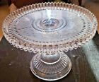 Gorgeous Glass Cake Plate Stand Scalloped Edges Pattern