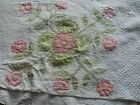 antique quilt cutter pink green white all handstitched shabby worn tears stains