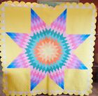 VTG ANTIQUE 1940'S LONE STAR QUILT ~ WOW COLORS ~ HANDMADE HAND STITCHED 80X80