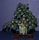 Old Item ~ Spinach Jade ~ Jade Tree ~ Gold Gilt Champleve Base ~ Rosewood Stand