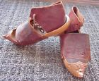 Antique 1918 French Carved Wooden Shoes/Sabots/Clog w Tooled Leather UNIQUE/RARE