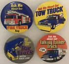 """4 Different SUNOCO Gas Station 1990's """"Ask Me About Our"""" TOY TRUCK Buttons Pins"""