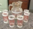Vintage Pitcher And 6 Glasses Set Red Dots And White Stripes